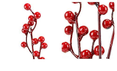 YZLSM Artificiali Bacche Filiale di plastica Fiori Foglia Decorativi Berry Bacche Rosse Plantfor casa della Festa Nuziale della Decorazione del Fiore