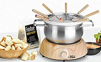 Artestia Electric Chocolate Cheese Fondue Set with Two Pots Stainless Steel and Ceramic , Serve 8 persons Stainless Steel Ceramic Pots, Wood Pattern Base