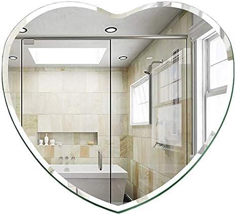 Espejo de cristal Cuarto de baño decoración de la pared Espejo colgar de la pared sin marco Espejo Tabla dormitorio aderezo en forma de corazón decoración flotantes Espejo dos tamaños puede elegir