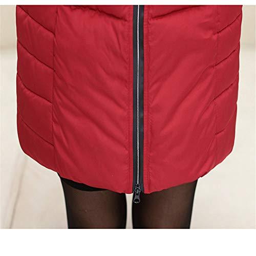 Cotone Rosso Inverno Abbigliamento piumino Lungo Con Giacca Large Donna In Size Shirloy Moda Cappuccio Spessore Caldo Z7aBnAq
