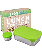 NomBox Leak Proof Stainless Steel Food Storage Container | Bento Lunch Box with Soft & Flexible Silicone Lid | Bundle With Bonus Dipping Sauce Container (2 Items)