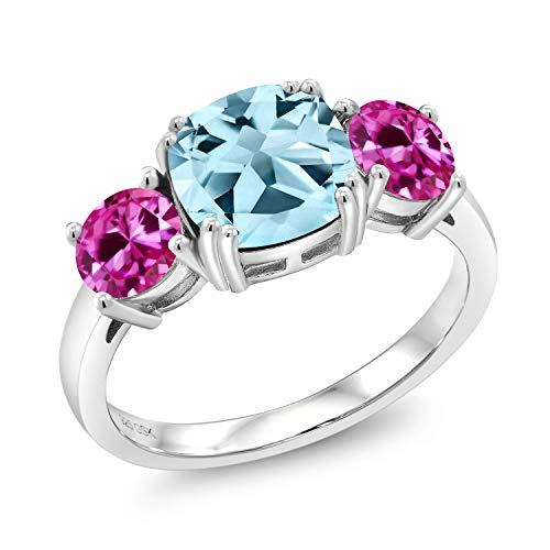 3.84 Ct Cushion Sky Blue Topaz Pink Created Sapphire 925 Sterling Silver Meghan Ring (Size 8)