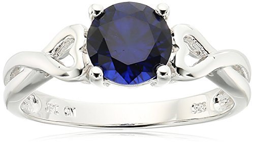 Amazon CollectionSterling Silver Crisscross Created-Blue-Sapphire Ring, Size 6
