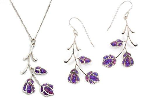 Parure Fleurs de Violette en Argent -Boucles d'oreilles et Collier Violets Inspiration Kahlo