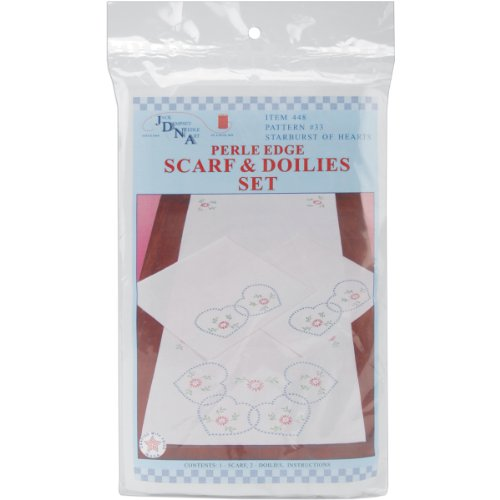 Brand New Stamped Dresser Scarf & Doilies Perle Edge-Starburst Of Hearts Brand New