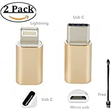 USB C to Lightning Adapter and Micro b to Type c Convertor Aluminum Portable charger Male to Female for 8Pin Apple Devices Samsung Galaxy S8 MI 5 HuaweiI Mate9 (Gold2 Pack)
