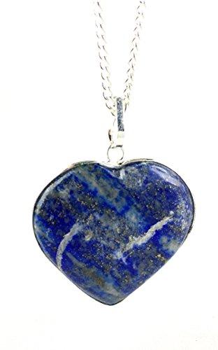 M'VIR Heart Shaped Lapiz Lazuli Tumbled Stone Pendant Necklace September Birthstone Gift Healing]()