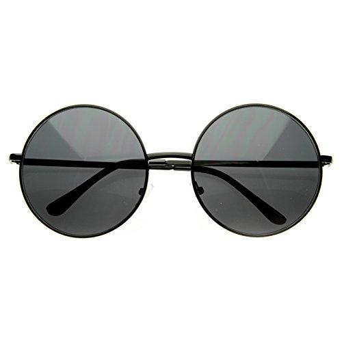 - Super Large Oversized Metal Round Circle Sunglasses (Black Smoke)