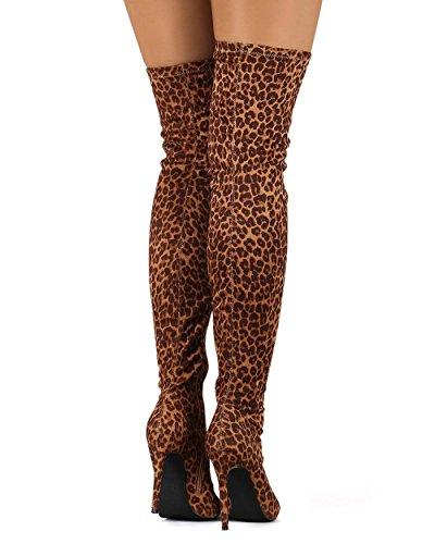 Liliana DB54 Damen Wildleder Spitze Zehenhoch Single Stiletto Stiefel Leopard