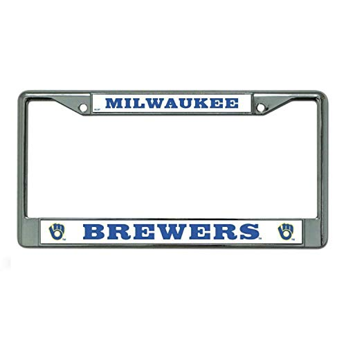 MLB Milwaukee Brewers Ball & Glove Design Laser Chrome Frame