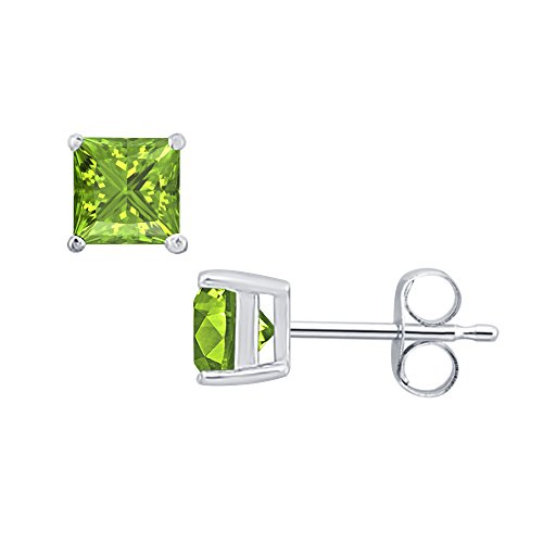 SVC-JEWELS (4MM) Princess Cut Peridot Solitaire Stud Earrings 14K White Gold Over .925 Sterling Silver For Women's & Girls