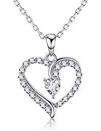 Love Heart Infinity Pendant Necklace Jewelry Gifts for Women for Wife for Her Sterling Silver Dorella