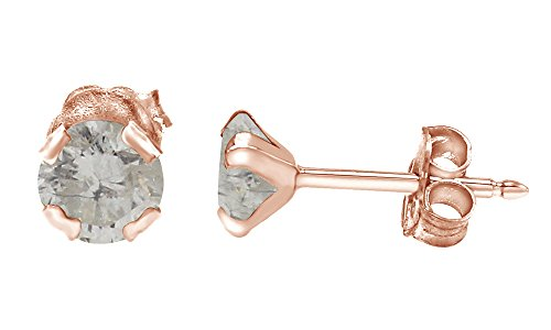 Cut White Moissanite Stud Earrings In 10K Solid Rose Gold (0.40 Ct) ()