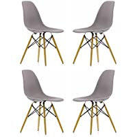 Ariel DSW Gray Plastic Shell Chair with Wood Eiffel Legs Set of 4