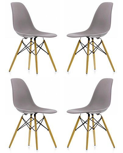 Ariel DSW Gray Plastic Shell Chair with Wood Eiffel Legs Set of 4 Review