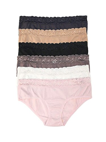 Felina | Low Rise Lace Hipster Panties | Smooth Wear | Seamless Womens Underwear | Classic Low Waist Boyshort Briefs | Multi Color Multipack | 6 Pack Black