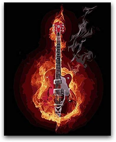 Pintura Para Colorear Diy Por Números Guitarra Eléctrica Quemada ...