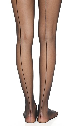 Wolford Women's Individual 10 Back Seam Tights, Black, Large