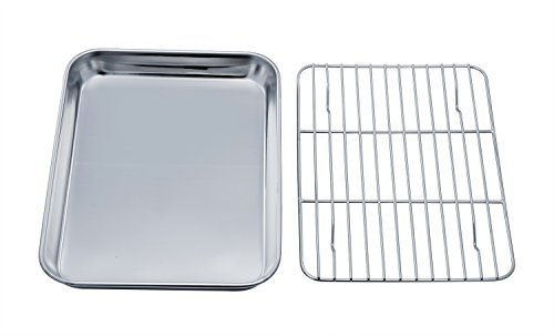TEAMFAR Toaster Oven Tray and Rack Set, Stainless Steel Toaster Oven Pan Broiler Pan, Compact 7''x9''x1'', Non Toxic & Healthy, Easy Clean & Dishwasher Safe (Pan For Toaster Oven)