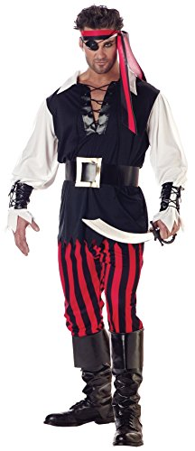UHC Men's Buccaneer Caribbean Cutthroat Pirate Theme Party Dress, (Cutthroat Pirate Adult Mens Plus Size Costumes)