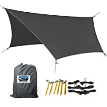 [MD Pinnacle] Lightweight Waterproof Camping Hammock Cover HEX Tarp. Complete UV (UV50+) and Rip Resistant for Maximum Durability and Portability. Come with Extra Aluminum Stakes and S-Shape Carabiner