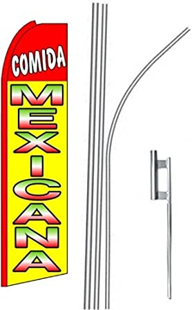 3 three COMIDA MEXICANA 15 Swooper #4 Feather Flags KIT