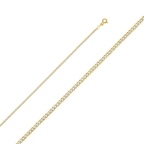 Chain Pave Ring - 14k Two Tone Gold Solid 2mm Cuban Curb White Pave Chain Necklace with Spring Ring Clasp - 20