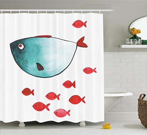 Ocean Animal Decor Shower Curtain by Ambesonne, Cute Chubby