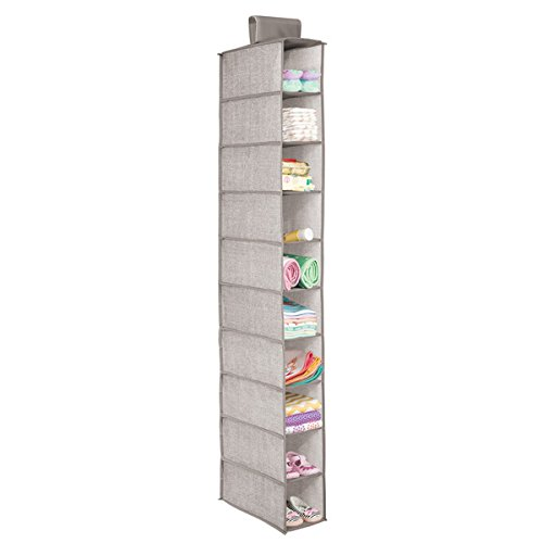 mDesign Soft Fabric Over Closet Rod Hanging Storage Organizer with 10 Shelves for Child/Kids Room or Nursery, Holds Wipes, Diapers, Blankets, Shoes - Textured Print - Linen/Tan