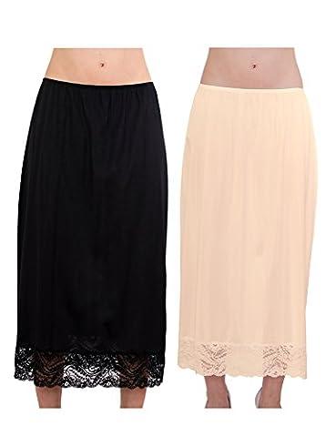 Women's Soft Long Maxi Half Slip Adjustable Lace Dress Extender Sleepwear Combo Pack