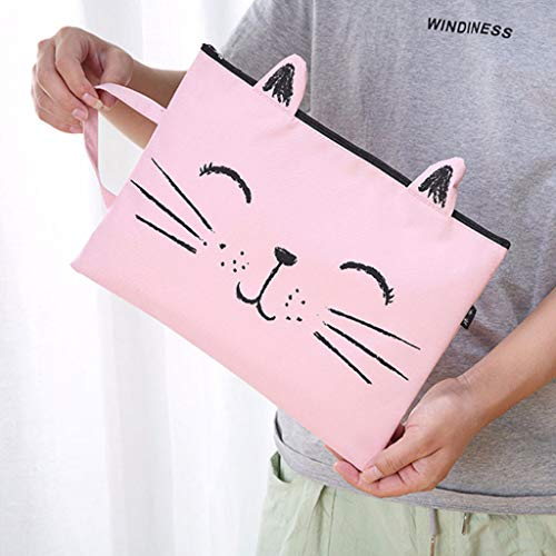 Cute Cat File Bags A4 Size Zipper Closure Canvas Students Storage Bag Document Organizer Multifunction Pencil Case Holder Portable Filing Pouch Office Stationery (B)