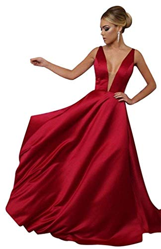 Dress Deep A Neck Red Dresses Backless Dark 2018 Prom Line CCBubble Evening Prom V qPHwdXW1F