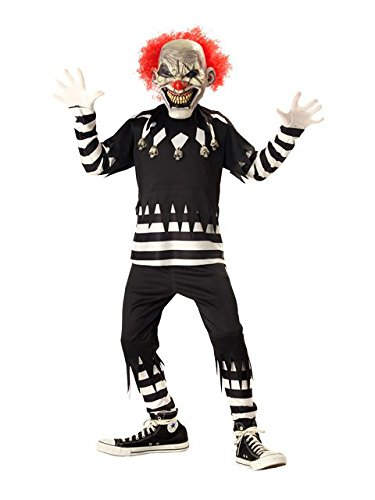 Creepy Clown Boy's Costume, Medium, One -