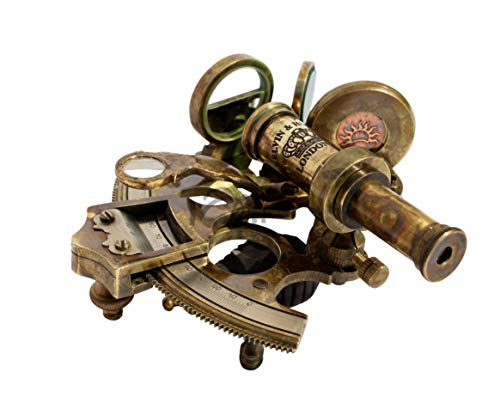 MAH Solid Brass Sextant Nautical Maritime Astrolabe Marine Brass Ship History Sextant. C-3267