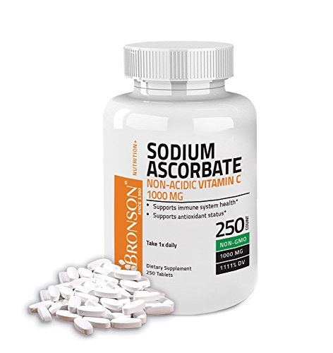 Bronson Sodium Ascorbate Non Acidic Vitamin C 1000mg, 250 - Gmo C-1000 Tabs 250 Non