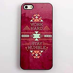 YXF Hard Word and Stay Humble Design Aluminum Hard Case for iPhone 4/4S