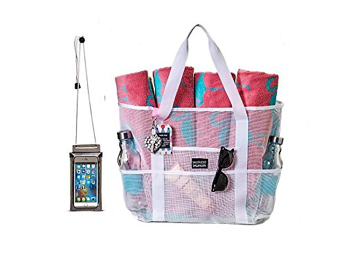 Bombshell Beach Bags - a range of extra large mesh bags or totes, beach bags, beach totes, gym bags, toy bags, shopping bags, for woman, with zip pouch and extra waterproof phone case (Flow Shell Handle)