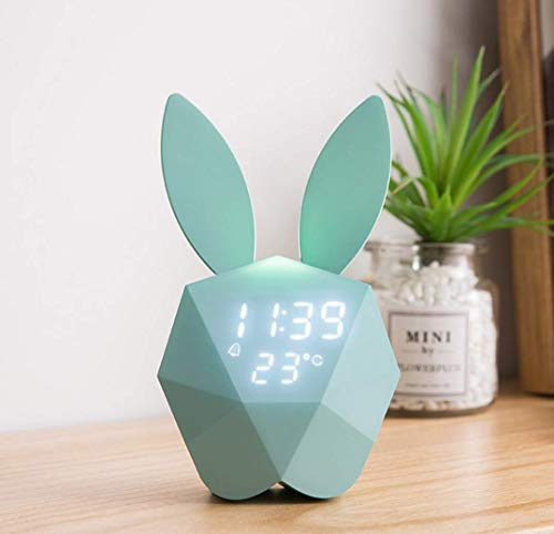 Rabbit Clock - BLAK SKY Children's Electronic Alarm Clock Night Light Awakening Led Lights Rabbit Night Light USB Rechargeable by Voice Control, Decorating Home Bedroom Baby Bedroom Children's Birthday Gift (Blue)