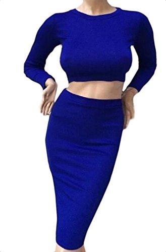 Lunghezza Midi Superiore Solido Bodycon Lungo donne Coolred abito Fondo Blu Vestito amp; XgwO6qq