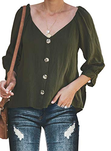 FARYSAYS Women's Fashion Solid Button Down V Neck 3 4 Sleeve T Shirts Casual Work Blouses Tops Green Medium