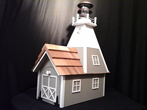 Amish Homemade Solar Nautical Lighthouse Rural Mailbox Clay with White ()