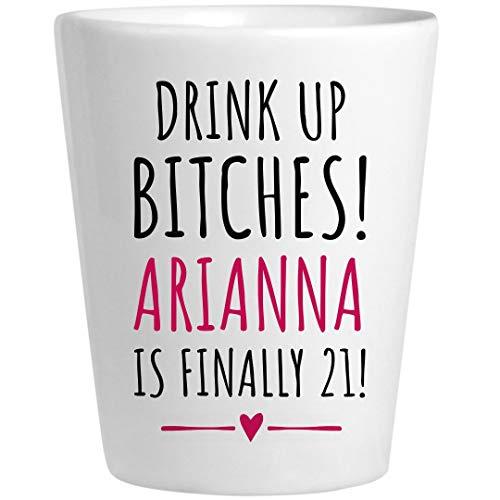 Arianna 21st Birthday Gift: Ceramic Shot Glass -