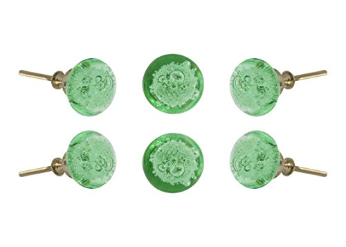 Set of 6 Glass Jones Bead Light Green with Silver Chrome Finish Hardware Cabinet Knobs Kitchen Cupboard Dresser Drawer Door Knob Pull by Trinca-Ferro
