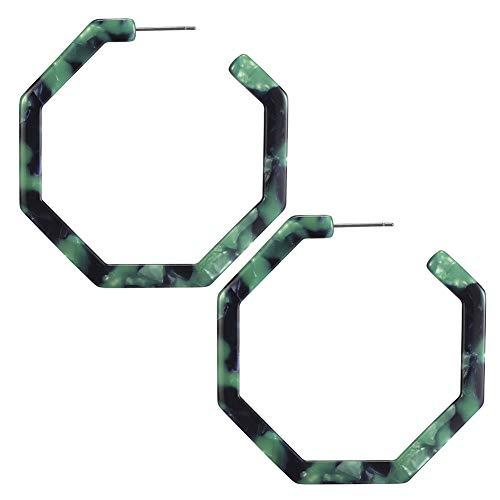 Green Vintage Fashion Lightweight Stud Hoop Earrings with Dangle Geometry Octagon Earrings for Women (Vintage Style Earrings)