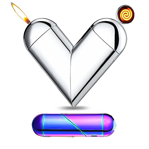 [YCJUJU Dual Use Cigarette Lighter, USB Charge and Real Flame, Love Folds Shape (Silver)] (Dungeon Fighter Live Costumes)