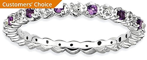 ICE CARATS 925 Sterling Silver Purple Amethyst Diamond Band Ring Size 7.00 Stone Stackable Gemstone Birthstone February Fine Jewelry Gift For Women Heart by ICE CARATS (Image #3)