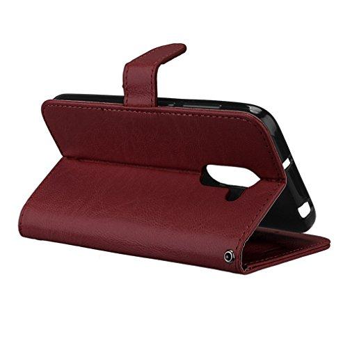 Laybomo Schuzhülle Alcatel A3 Hülle Ledertasche Weiches Gummi Silikon TPU Haut Beutel Schützend Stehen Bilderrahmen Brieftasche Schale Tasche Handyhülle für Alcatel A3 (Weiß) Braun CjEYe7Gx