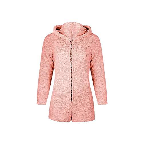 Okvpajdo Women Sherpa Fleece Pajama Suit Hooded Cute Bear Ears Long Sleeve Zipper Short Jumpsuit Sleepwear Romper Light -