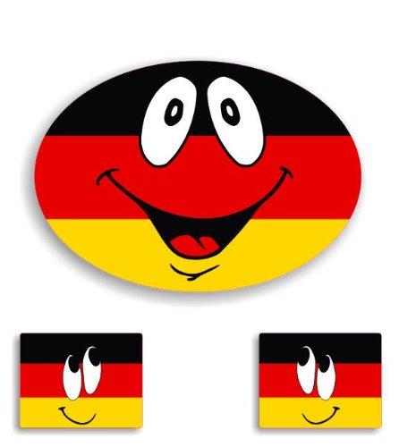 3X German - Germany Flag Smiley Car Stickers / Window Decal Bumper