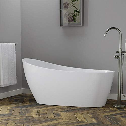 Magnus Home Products Radnor Acrylic Slipper Freestanding Bathtub w Integral Drain, 60 , Oil Rubbed Bronze, Insulation, No Air Jets